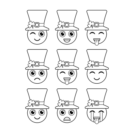 Leprechauns. Emoticons, emojis. Characters for St. Patricks day. Vector