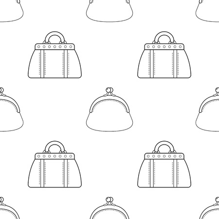 Fashionable handbags. Black and white seamless pattern of bags for coloring book. Vector.