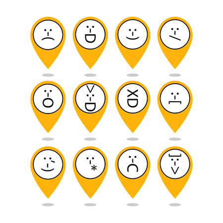 Set of emoticons, emoticon of punctuation. Characters isolated. Vector Çizim