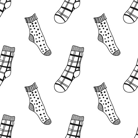 Socks. Black and white seamless pattern for coloring book and page. Knitted clothes. Vector illustration