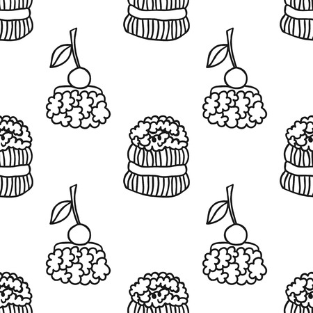 Cakes, sweet dessert. Black and white seamless pattern for coloring book or page. Illustration