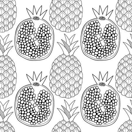 Pineapples, and pomegranates. Black and white illustration for coloring book. Sweet fruits, healthy dessert and food.