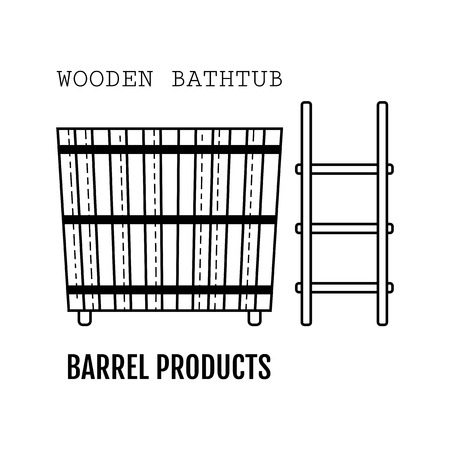 Wooden bathtub. Bucket made from wood. Flat icon for site and business.