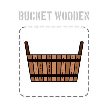 Wooden bucket . Flat icon, object of barrel products for design. Illustration