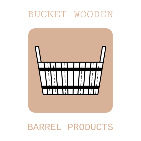 Bucket wooden. Flat icon, object of barrel products for design. Vector illustration