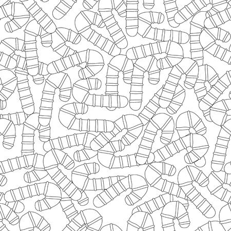 Gingerbread. Black and white illustration for coloring book or page. Christmas and holiday background.