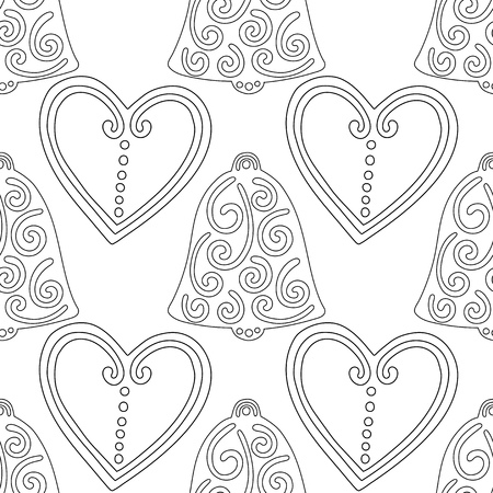 Gingerbread, bells. Black and white illustration for coloring book or page. Christmas and holiday background. 일러스트