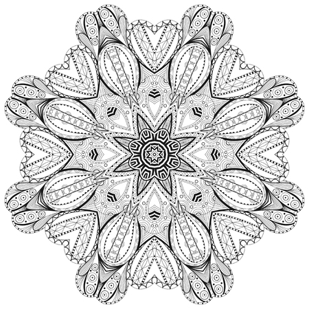 Ornamental round lace for coloring book and page. Vector illustration Ilustracja