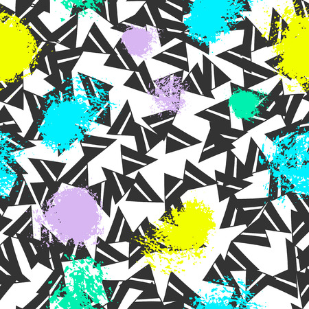 Triangles and abstract color spots. Seamless pattern. Geometric background for covers, textile. Doodles