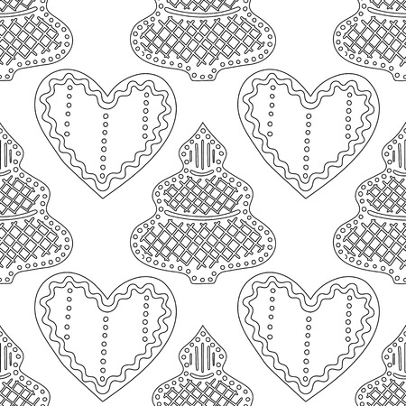 Gingerbread. Black and white illustration for coloring book or page. Christmas, holiday background. Illustration