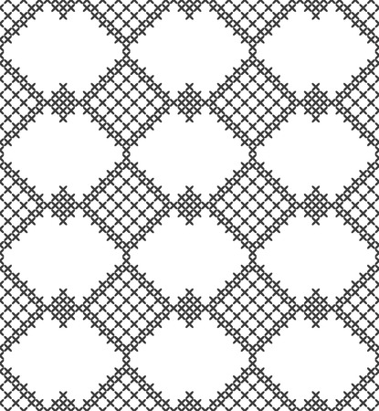 Cross stitch, seamless decorative pattern. Embroidery and knitting. Abstract geometric background. Ethnic ornaments. Vector