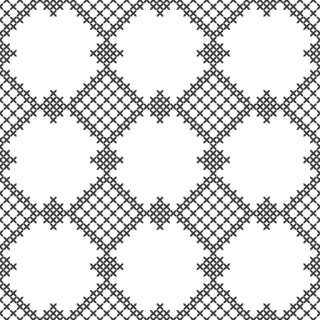 Cross stitch, seamless decorative pattern. Embroidery and knitting. Abstract geometric background. Ethnic ornaments. Vector Stock Illustratie