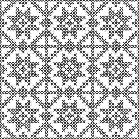 Cross stitch, seamless decorative pattern. Embroidery and knitting. Abstract geometric background. Ethnic ornaments.