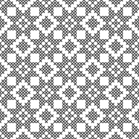 Cross stitch, seamless decorative pattern. Embroidery and knitting. Abstract geometric background. Ethnic ornaments. Vector Illustratie