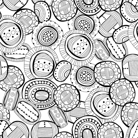 Black and white illustration. Seamless pattern, abstract doodles for coloring books, pages. Digital design. Vector