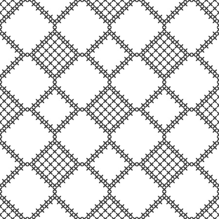 Cross stitch, seamless decorative pattern. Embroidery and knitting. Abstract geometric background. Ethnic ornaments. Vector Ilustração