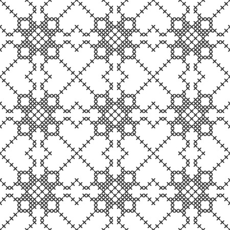 Cross stitch, seamless decorative pattern. Embroidery and knitting. Abstract geometric background. Ethnic ornaments. Vector Archivio Fotografico - 127268665