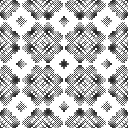 Cross stitch, seamless decorative pattern. Embroidery and knitting. Abstract geometric background. Ethnic ornaments. Vector Archivio Fotografico - 127138751