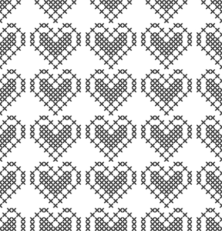 Cross stitch, seamless decorative pattern with hearts. Embroidery and knitting. Abstract geometric background. Ethnic ornaments. Vector