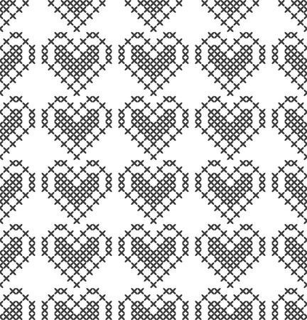Point de croix, motif décoratif sans couture avec coeurs. Broderie et tricot. Abstrait géométrique. Ornements ethniques. Vecteur