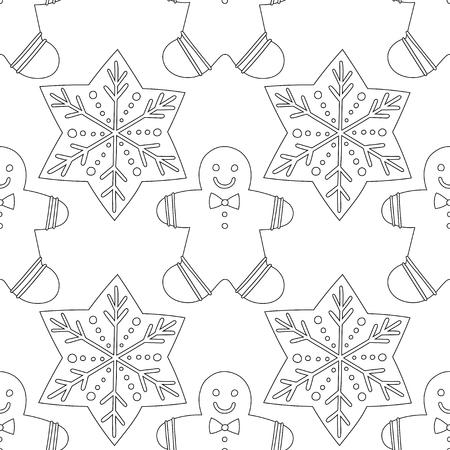 Pan de jengibre. Ilustración en blanco y negro para colorear libro o página. Fondo de Navidad y vacaciones.