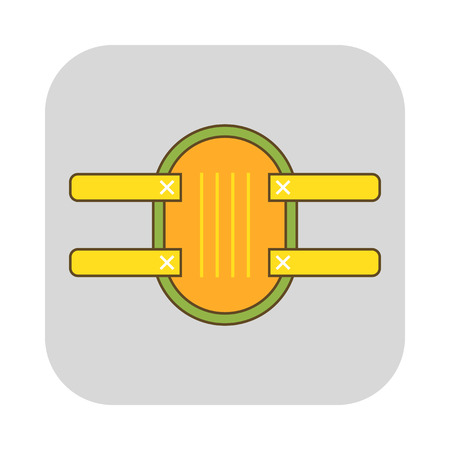 Knee protection. Garden tools and sports equipment. Flat icon. Vector illustration