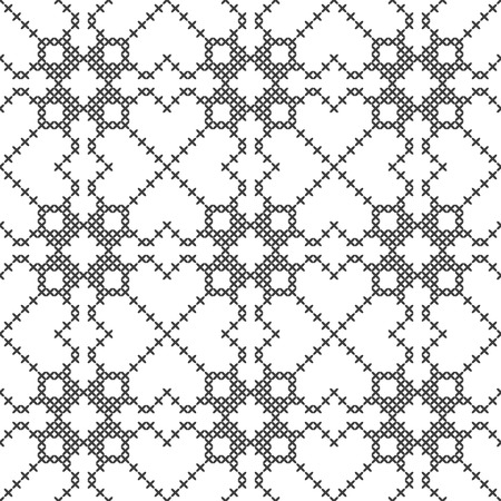 Cross stitch, seamless decorative pattern. Embroidery and knitting. Abstract geometric background. Ethnic ornaments. Vector Archivio Fotografico - 126941853