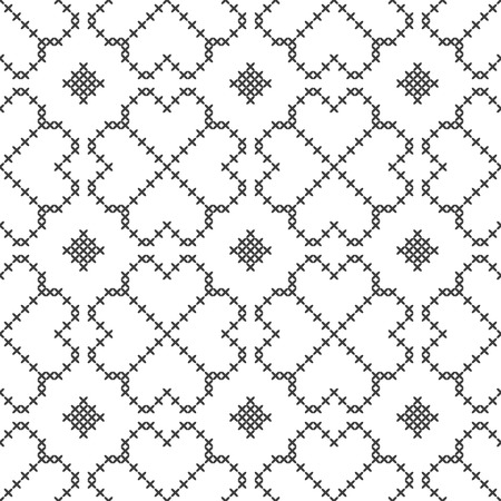 Cross stitch, seamless decorative pattern. Embroidery and knitting. Abstract geometric background. Ethnic ornaments. Vector Archivio Fotografico - 126941857
