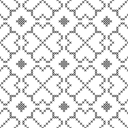 Cross stitch, seamless decorative pattern. Embroidery and knitting. Abstract geometric background. Ethnic ornaments. Archivio Fotografico - 114321292