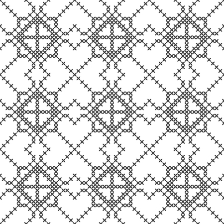Cross stitch, seamless decorative pattern. Embroidery and knitting. Abstract geometric background. Ethnic ornaments. Vector Archivio Fotografico - 126941858