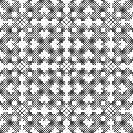 Cross stitch, seamless decorative pattern. Embroidery and knitting. Abstract geometric background. Ethnic ornaments. Vector Archivio Fotografico - 126770342