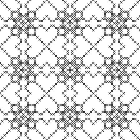 Cross stitch, seamless decorative pattern. Embroidery and knitting. Abstract geometric background. Ethnic ornaments. Vector Archivio Fotografico - 126770343