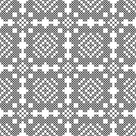Cross stitch, seamless decorative pattern. Embroidery and knitting. Abstract geometric background. Ethnic ornaments. Vector Archivio Fotografico - 126770351