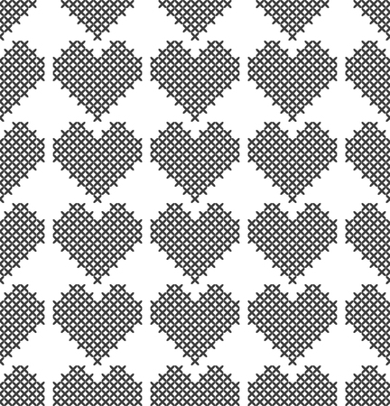 Cross stitch, seamless decorative pattern with hearts. Embroidery and knitting. Abstract geometric background. Ethnic ornaments. Vector Ilustração Vetorial