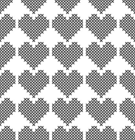 Point de croix, motif décoratif sans couture avec coeurs. Broderie et tricot. Abstrait géométrique. Ornements ethniques. Vecteur Vecteurs