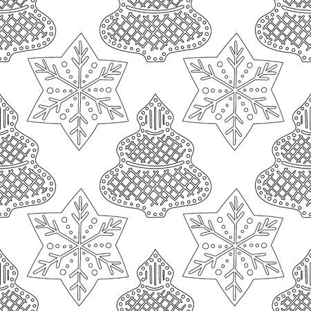 Gingerbread. Black and white illustration for coloring book or page. Christmas, holiday background. 일러스트