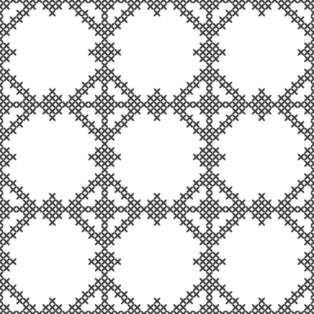 Cross stitch, seamless decorative pattern. Embroidery and knitting. Abstract geometric background. Ethnic ornaments. Vector Archivio Fotografico - 126499306