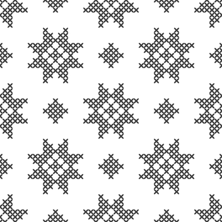 Cross stitch, seamless decorative pattern. Embroidery and knitting. Abstract geometric background. Ethnic ornaments. Vector Archivio Fotografico - 126499321