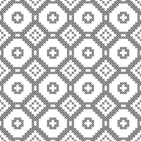 Cross stitch, seamless decorative pattern. Embroidery and knitting. Abstract geometric background. Ethnic ornaments. Vector Archivio Fotografico - 126499324