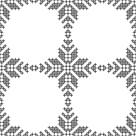 Cross stitch, seamless decorative pattern. Embroidery and knitting. Abstract geometric background. Ethnic ornaments. Vector Vettoriali