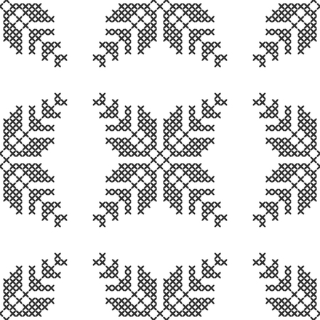 Cross stitch, seamless decorative pattern. Embroidery and knitting. Abstract geometric background. Ethnic ornaments. Vector Illusztráció