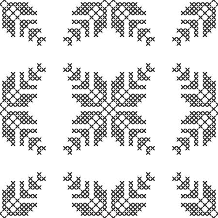 Point de croix, motif décoratif sans couture. Broderie et tricot. Abstrait géométrique. Ornements ethniques. Vecteur Vecteurs