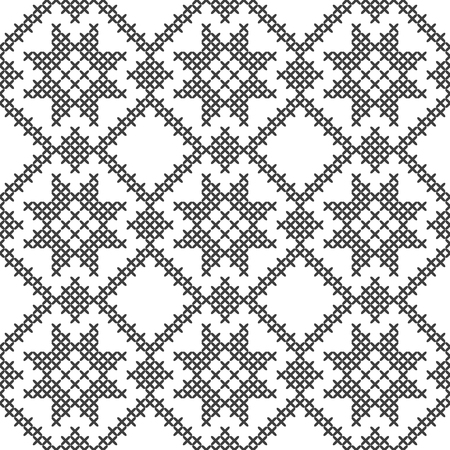 Cross stitch, seamless decorative pattern. Embroidery and knitting. Abstract geometric background. Ethnic ornaments. Vector Archivio Fotografico - 125875612