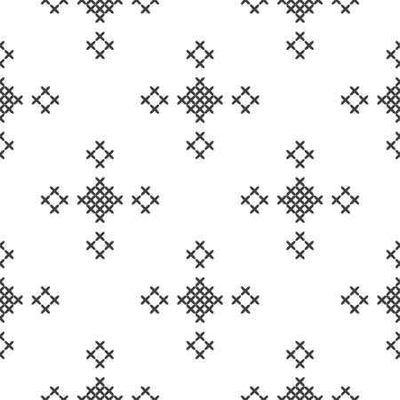 Cross stitch, seamless decorative pattern. Embroidery and knitting. Abstract geometric background. Ethnic ornaments. Vector 矢量图像