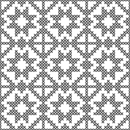 Cross stitch, seamless decorative pattern. Embroidery and knitting. Abstract geometric background. Ethnic ornaments. Vector Illustration