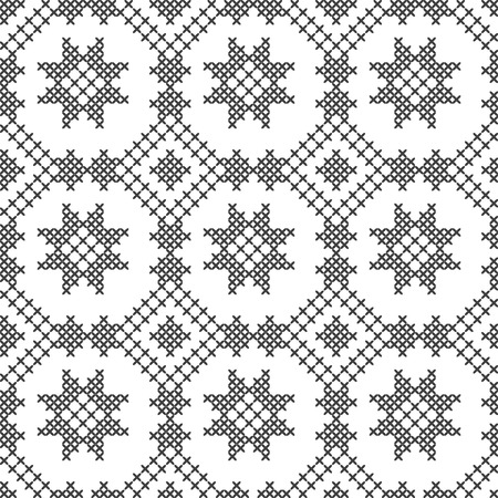 Cross stitch, seamless decorative pattern. Embroidery and knitting. Abstract geometric background. Ethnic ornaments. Vector Archivio Fotografico - 125875616