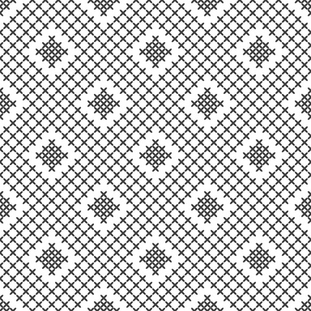 Cross stitch, seamless decorative pattern. Embroidery and knitting. Abstract geometric background. Ethnic ornaments. Vector Archivio Fotografico - 125875621