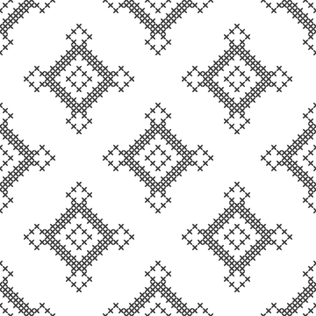 Cross stitch, seamless decorative pattern. Embroidery and knitting. Abstract geometric background. Ethnic ornaments. Vector  イラスト・ベクター素材