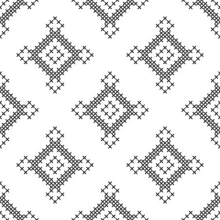Point de croix, motif décoratif sans couture. Broderie et tricot. Abstrait géométrique. Ornements ethniques. Vecteur