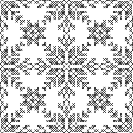 Cross stitch, seamless decorative pattern. Embroidery and knitting. Abstract geometric background. Ethnic ornaments. Vector Archivio Fotografico - 125407928
